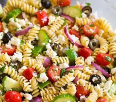 Greek Pasta Salad With Extra Virgin Olive Oil