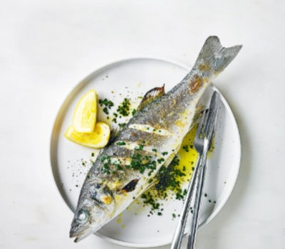 Grilled Sea Bass With Lemon Garlic And Olive Oil